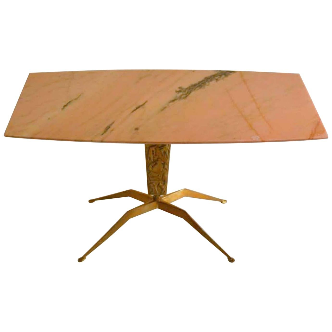 Coffee Table Marble and Bronze Attributed to Duilio 'Dubè' Barnabé 1955 Italy