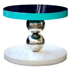 Coffee Table MDF Top, Polished Stainless Steel Spheres and Carrara Marble