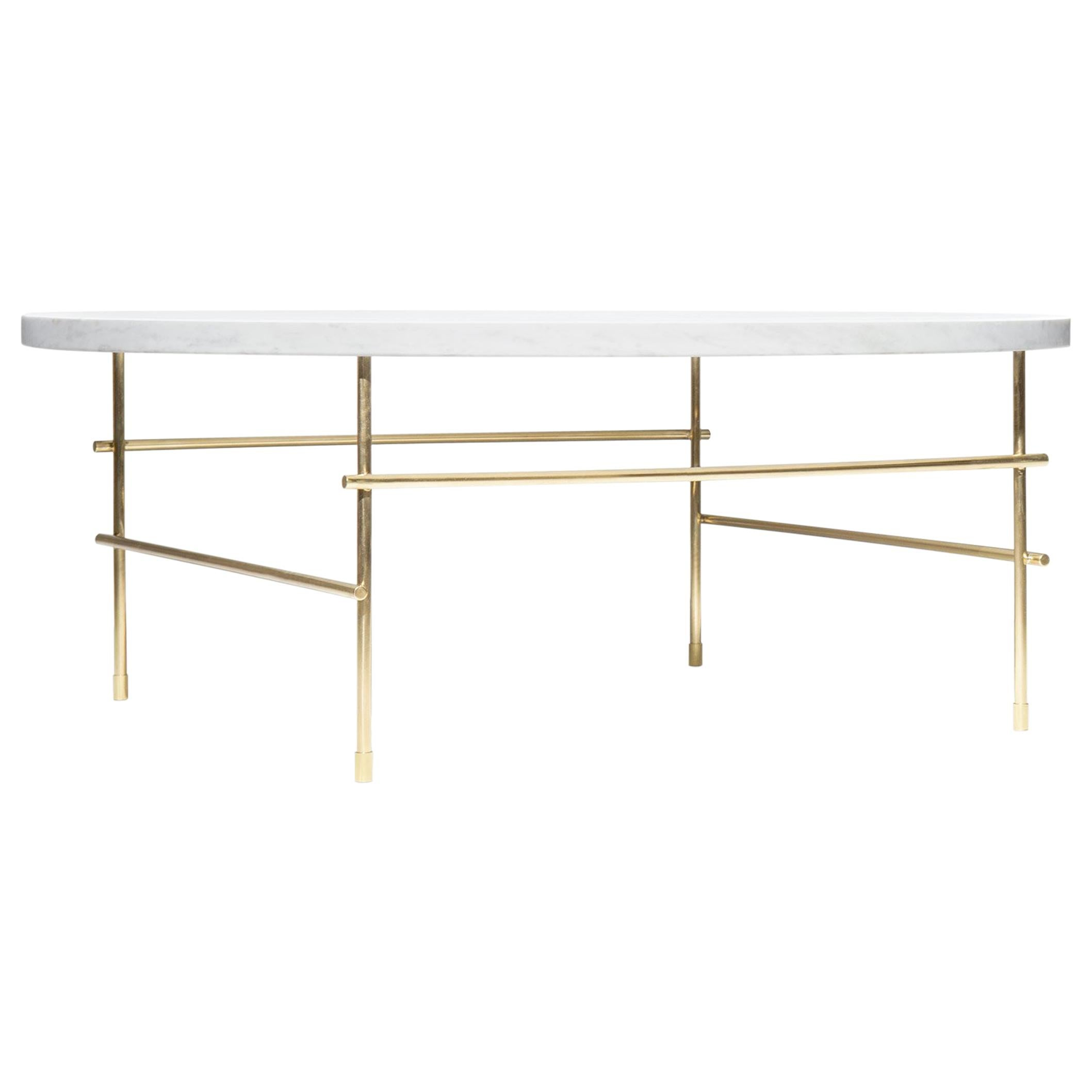 """""""Coffee Table Medium"""" Minimalist Coffee Table in Carrara Marble and Solid Brass"""