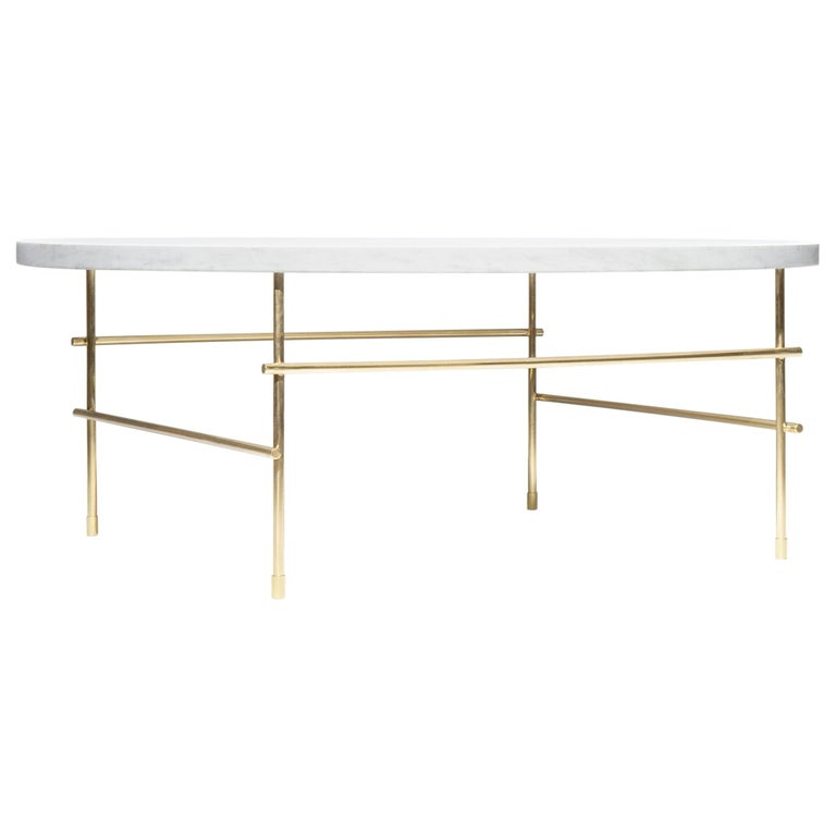 """Coffee Table Medium"" Minimalist Coffee Table in Carrara Marble and Solid Brass For Sale"