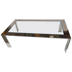 Coffee Table Metal Chrome and Brass by Renato Zevi, Italy, 1970s