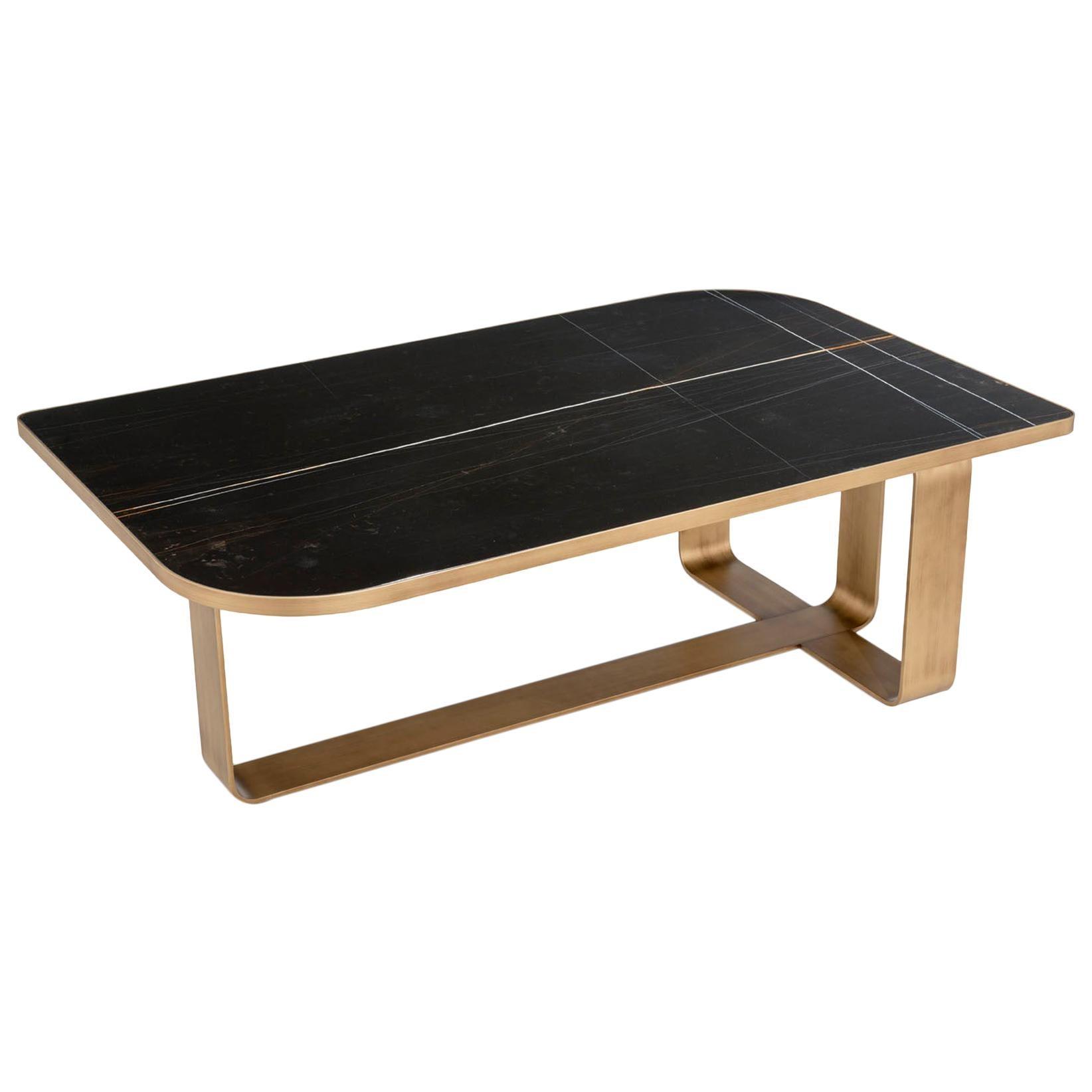 Coffee Table Metal Frame Top Black Aziz Marble Calacatta or Mirror Customizable