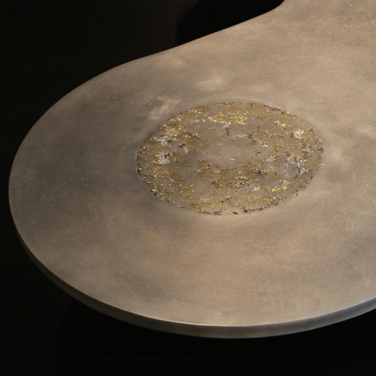 """In stock, made in France: This contemporary coffee table is a unique piece, created by Xavier Lavergne and sold with its """"Certificate of Authenticity"""". The top is made of wood wrapped with pewter, like a French bar countertop. It will develop a"""