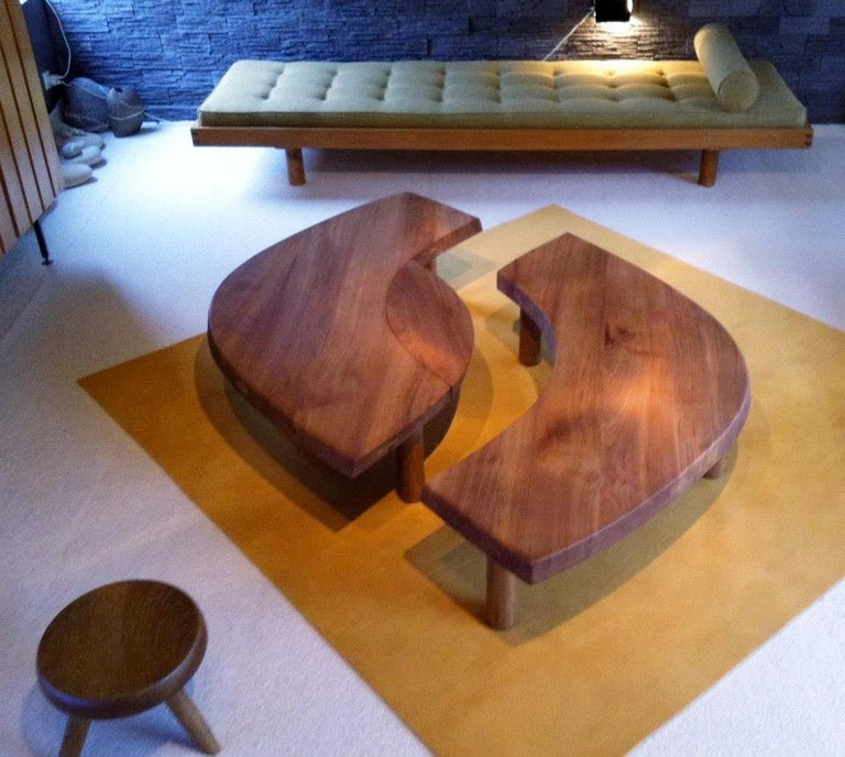 Mid-Century Modern Coffee Table Model 'T 22 S' French Solid Elm, 1965 For Sale