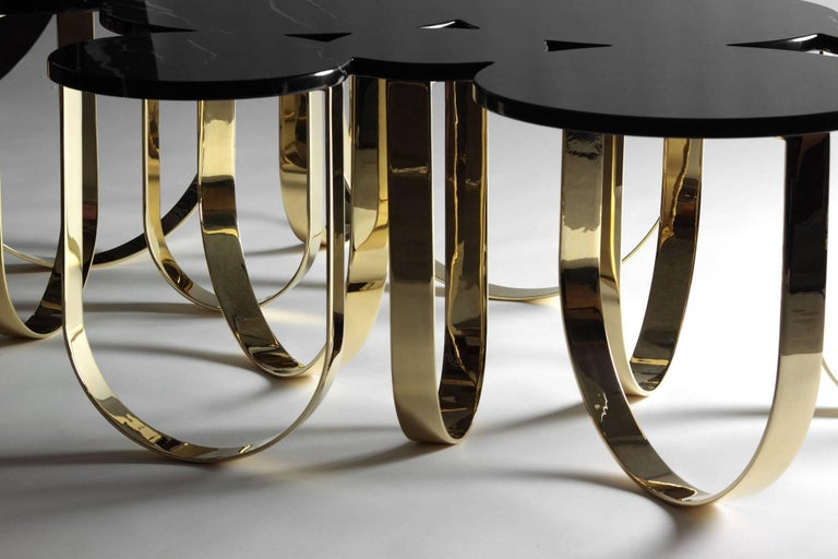 Coffee Table Modern Black Marble Brass Circular Italian Limited Edition Design For Sale 5