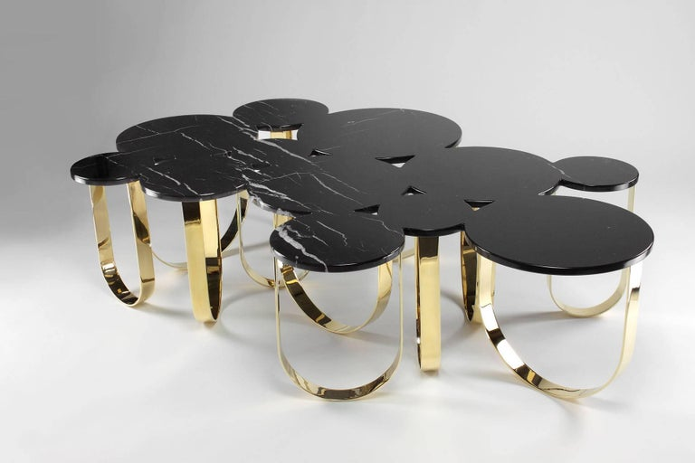 Coffee Table Modern Black Marble Brass Circular Italian Limited Edition Design In New Condition For Sale In Ancona, Marche