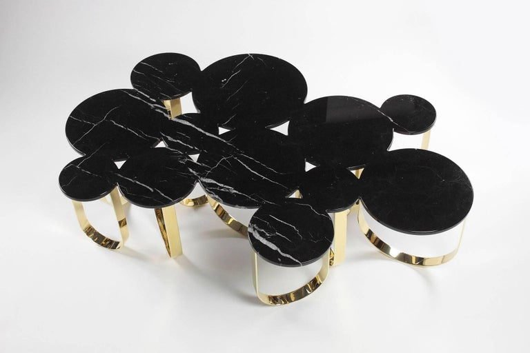 Coffee Table Modern Black Marble Brass Circular Italian Limited Edition Design For Sale 1