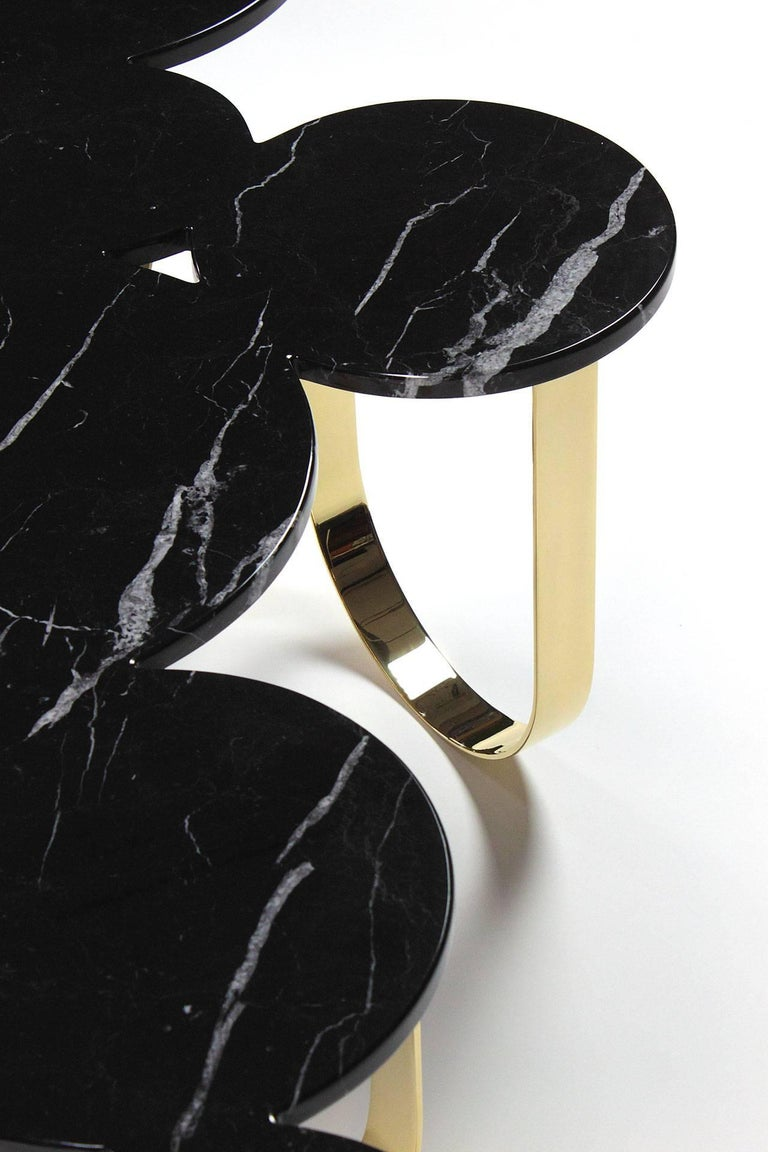 Coffee Table Modern Black Marble Brass Circular Italian Limited Edition Design For Sale 2