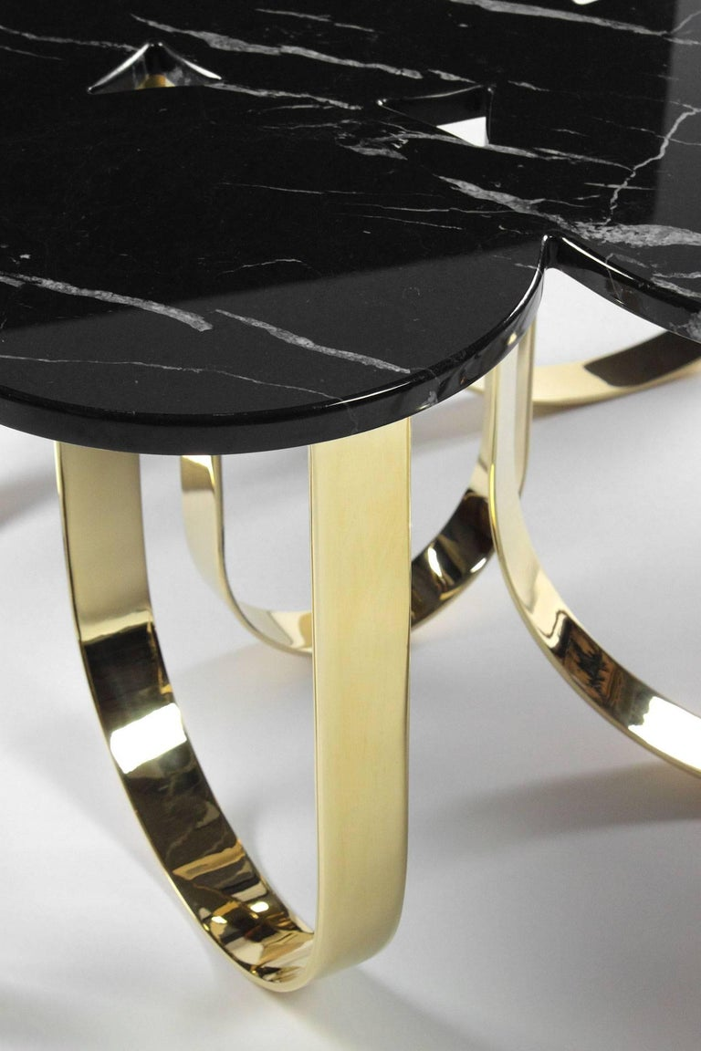 Coffee Table Modern Black Marble Brass Circular Italian Limited Edition Design For Sale 3