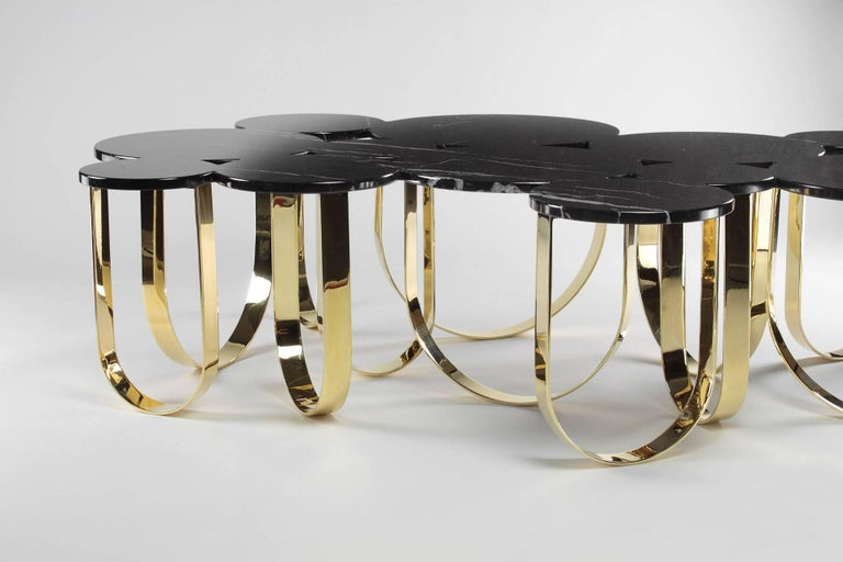 Coffee Table Modern Black Marble Brass Circular Italian Limited Edition Design For Sale 4