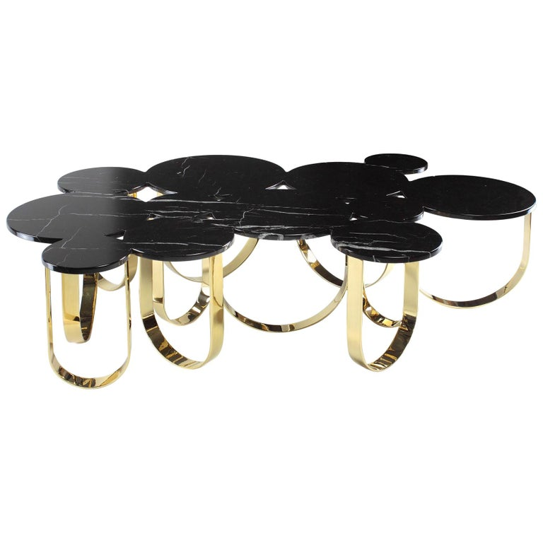 Coffee Table Modern Black Marble Brass Circular Italian Limited Edition Design For Sale