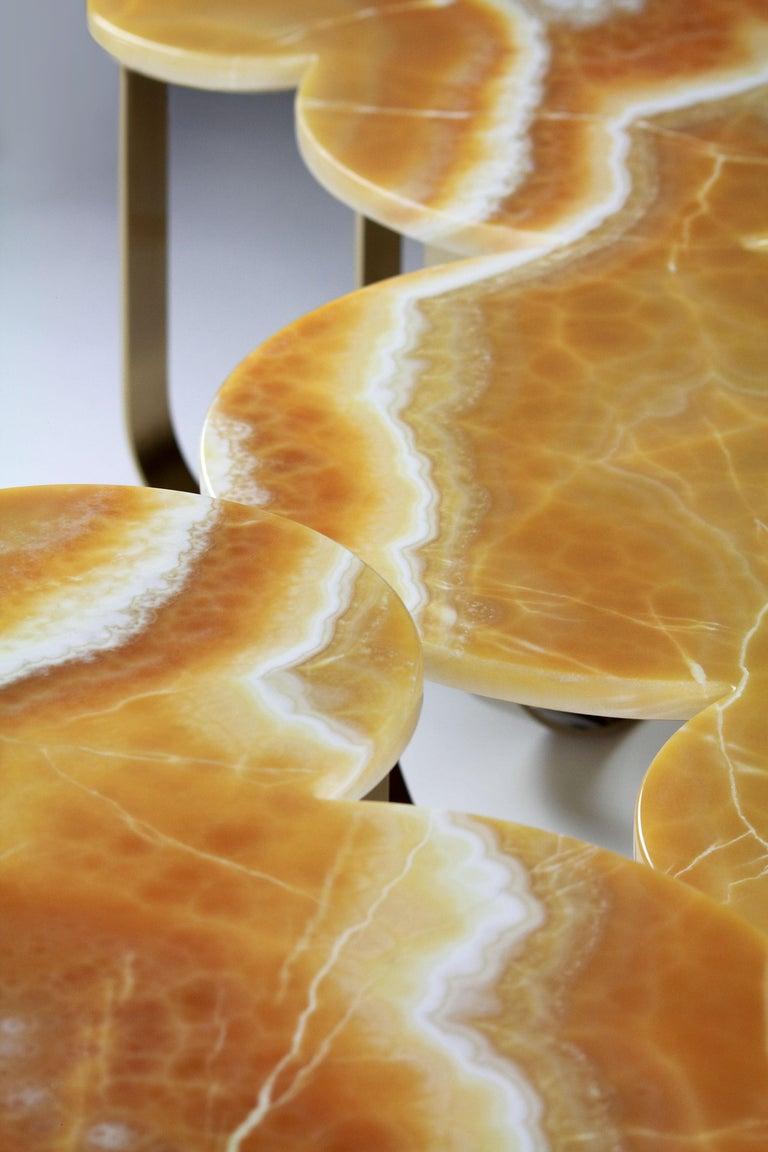 Coffee Table Modern Orange Onyx Brass Circular Italian Design For Sale 6