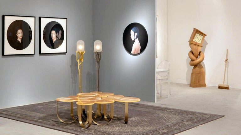 Coffee Table Modern Orange Onyx Brass Circular Italian Design For Sale 8