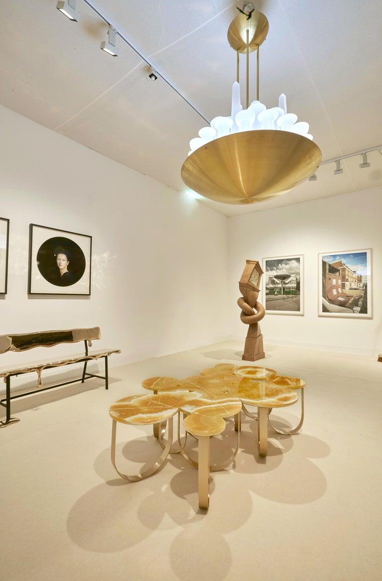 Coffee Table Modern Orange Onyx Brass Circular Italian Design For Sale 9
