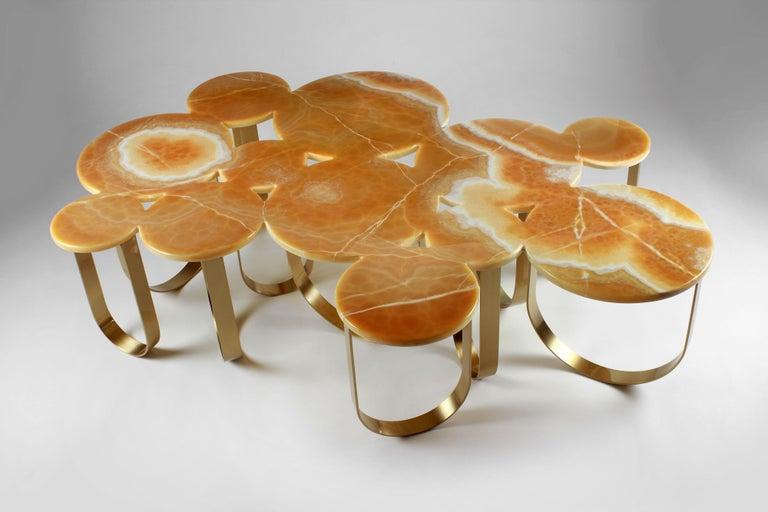 Brushed Coffee Table Modern Orange Onyx Brass Circular Italian Design For Sale
