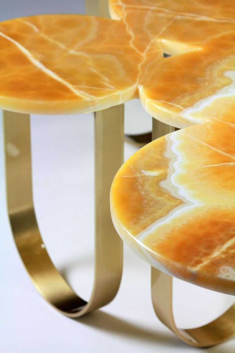 Contemporary Coffee Table Modern Orange Onyx Brass Circular Italian Design For Sale