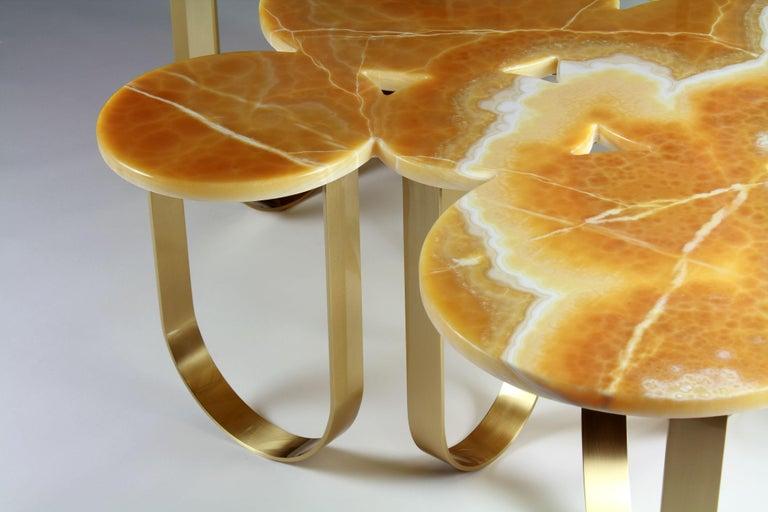 Coffee Table Modern Orange Onyx Brass Circular Italian Design For Sale 1