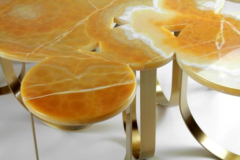 Coffee Table Modern Orange Onyx Brass Circular Italian Design For Sale 3