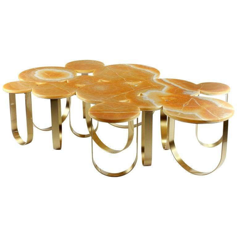 Coffee Table Modern Orange Onyx Brass Circular Italian Design For Sale