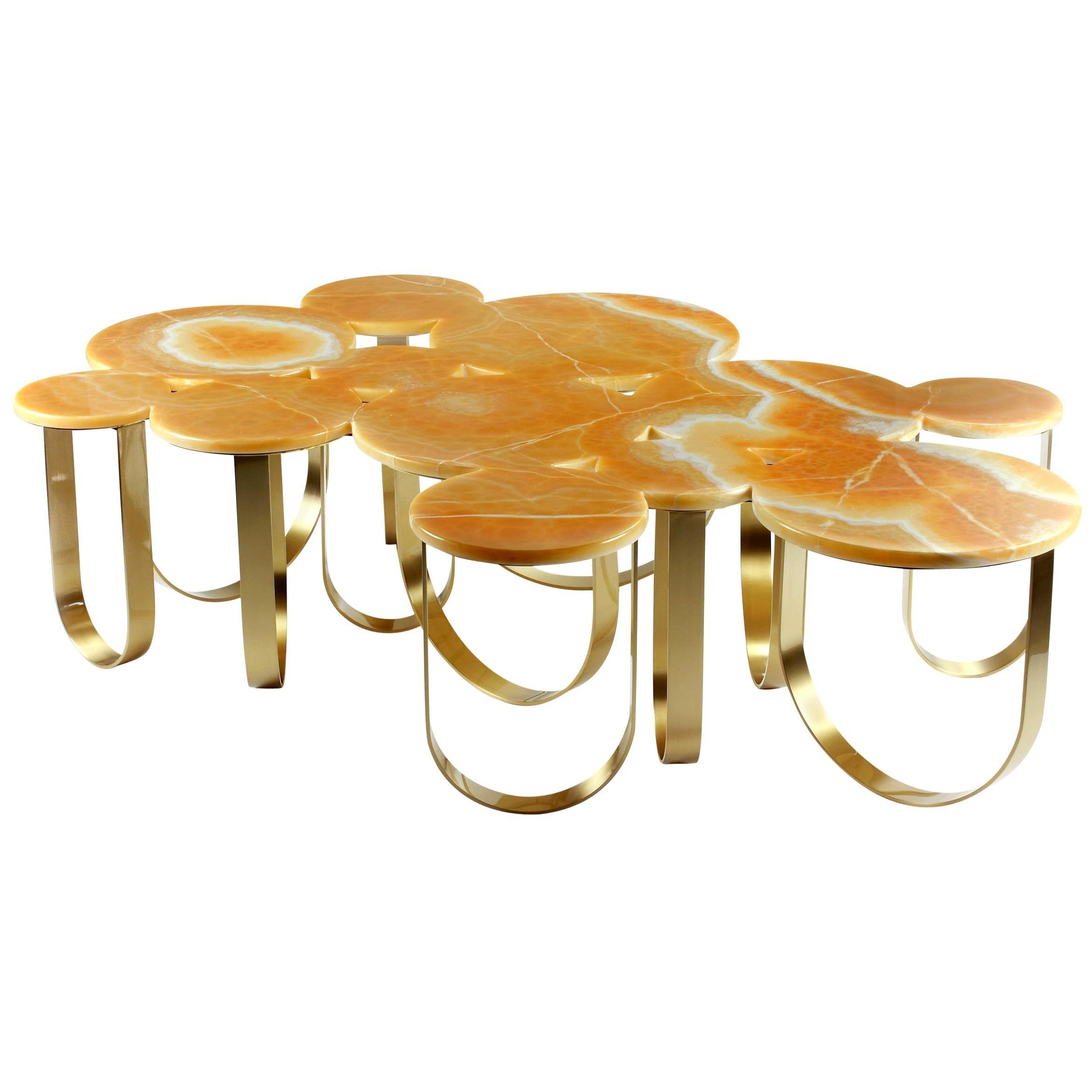 Coffee Table Modern Orange Onyx Brass Circular Italian Design