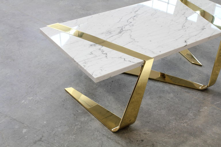 Contemporary Coffee Table Modern Rectangular Marble White Brass Italian Limited Edition For Sale
