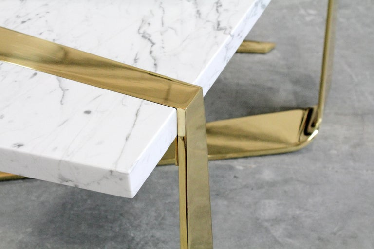 Carrara Marble Coffee Table Modern Rectangular Marble White Brass Italian Limited Edition For Sale
