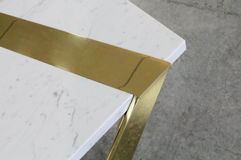 Coffee Table Modern Rectangular Marble White Brass Italian Limited Edition For Sale 1