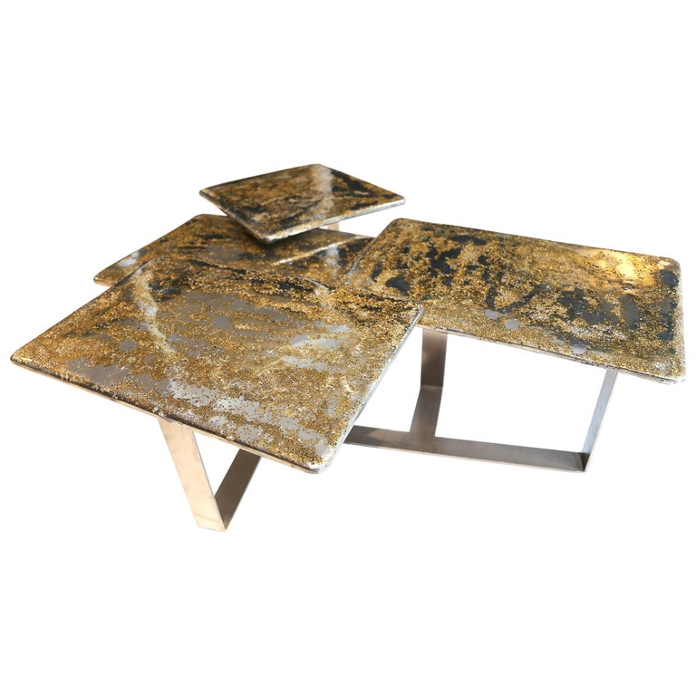 "Coffee Table ""Multifloor Sunlight"", Melted Pewter, Brass Grains, Crystal Resin For Sale"