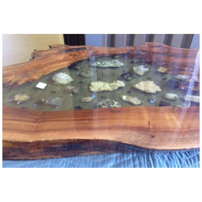 American Coffee Table or Console Table in English Elm with Crystals, Gemstones and Lucite For Sale