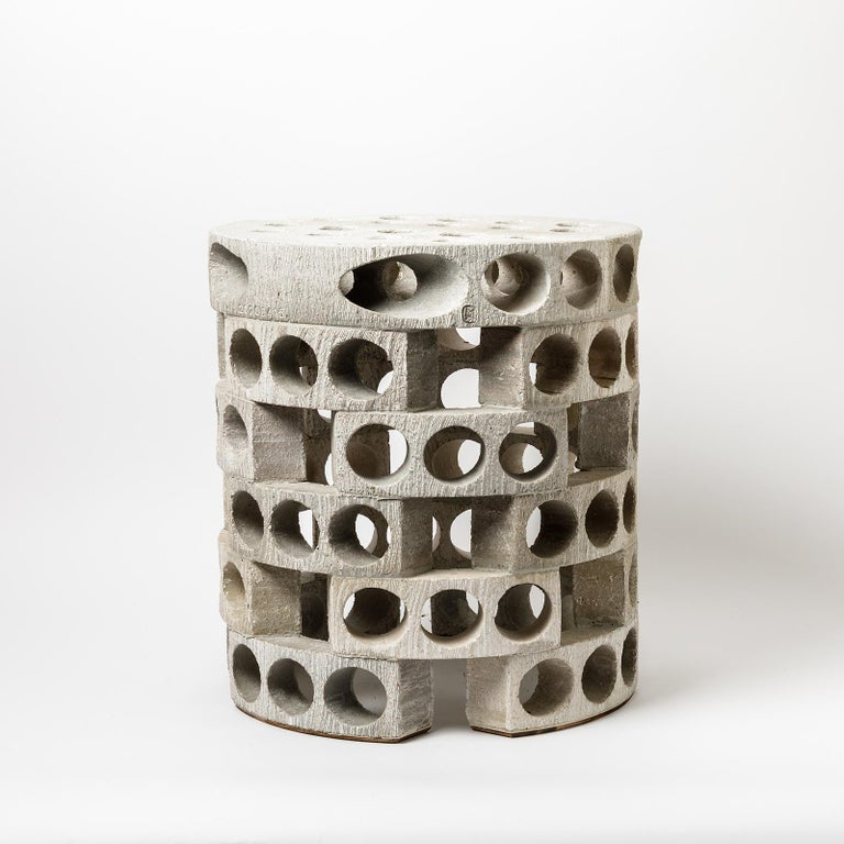 A ceramic guéridon or coffee table or stool with grey, white glazes decoration by Maarten Stuer. Signed. Perfect original conditions. This piece can be put indoor or outdoor. More pieces are available upon order, 2020.