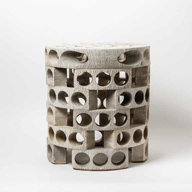 Beaux Arts Coffee Table or Stool with Grey, White Glaze Decoration by Maarten Stuer For Sale