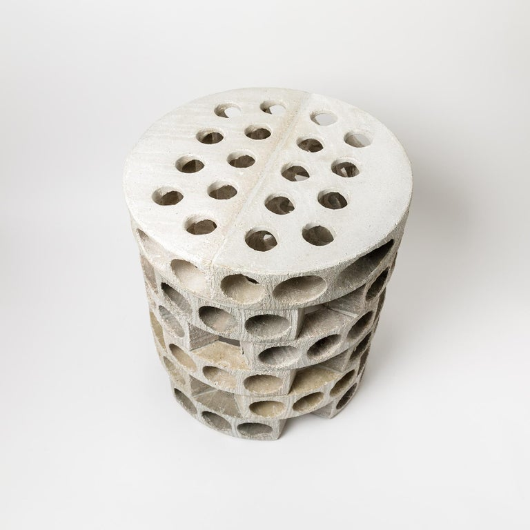 Coffee Table or Stool with Grey, White Glaze Decoration by Maarten Stuer In New Condition For Sale In Saint-Ouen, FR
