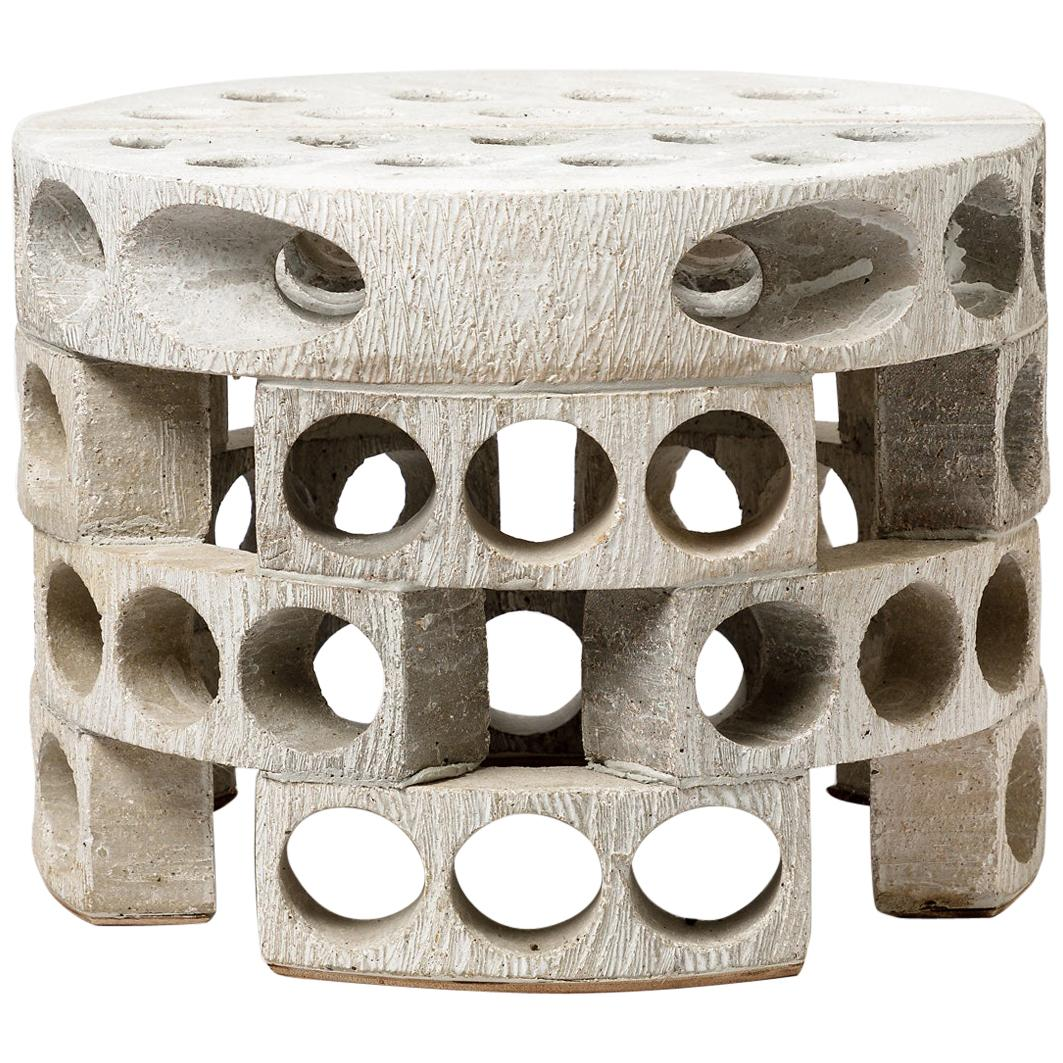 Coffee Table or Stool with Grey-White Glaze Decoration by Maarten Stuer