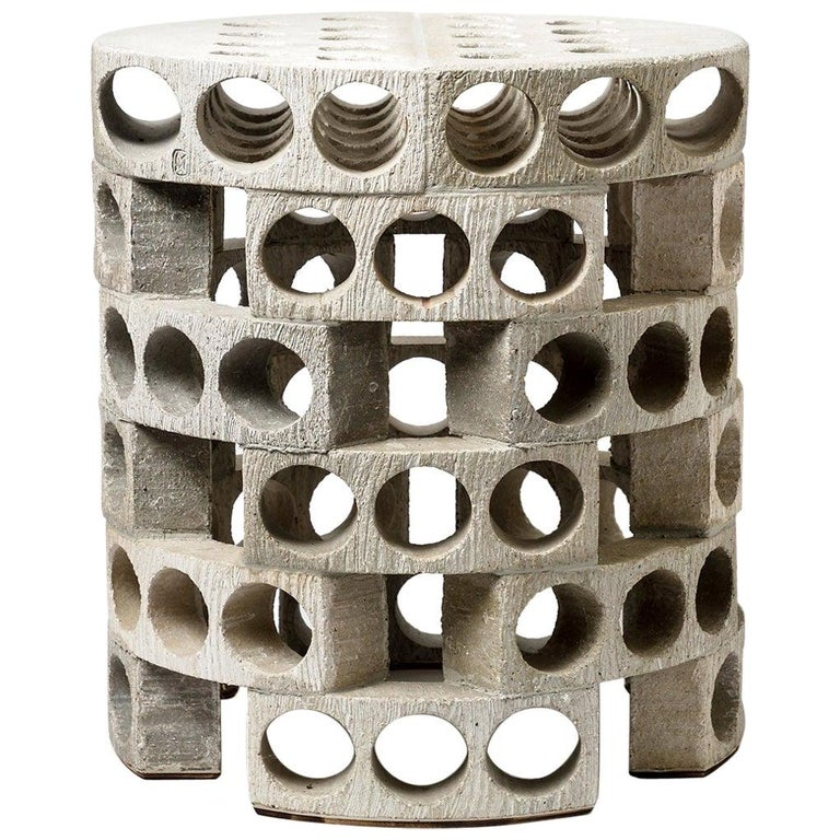 Coffee Table or Stool with Grey, White Glaze Decoration by Maarten Stuer For Sale