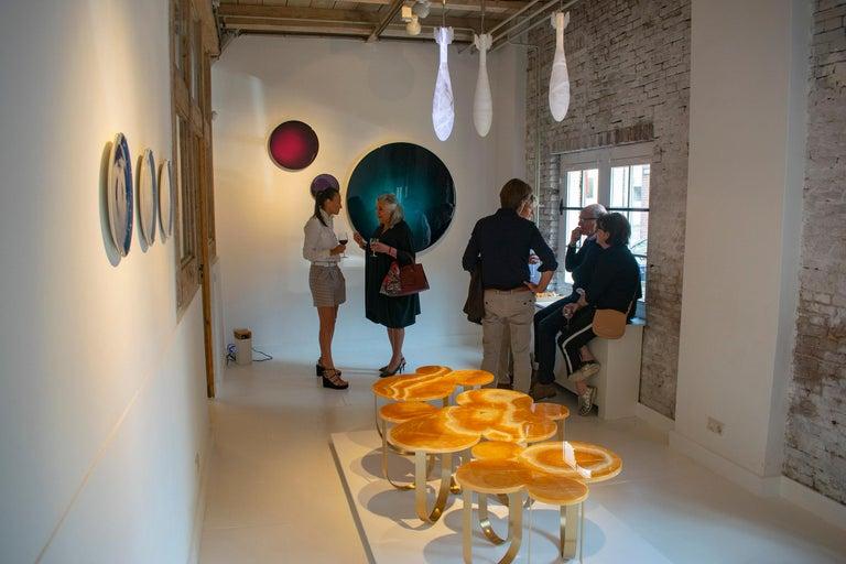 Coffee Table Orange Onyx Brass Circular Composable Contemporary Italian Design For Sale 5