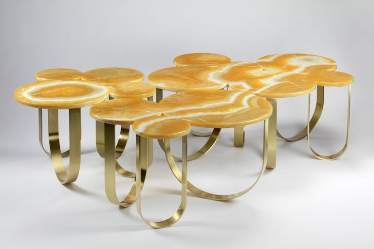 Brushed Coffee Table Orange Onyx Brass Circular Composable Contemporary Italian Design For Sale