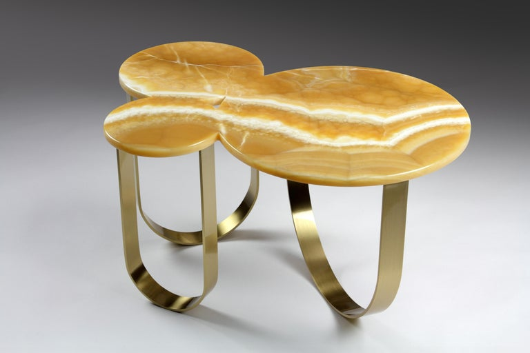 Coffee Table Orange Onyx Brass Circular Composable Contemporary Italian Design In New Condition For Sale In Ancona, Marche