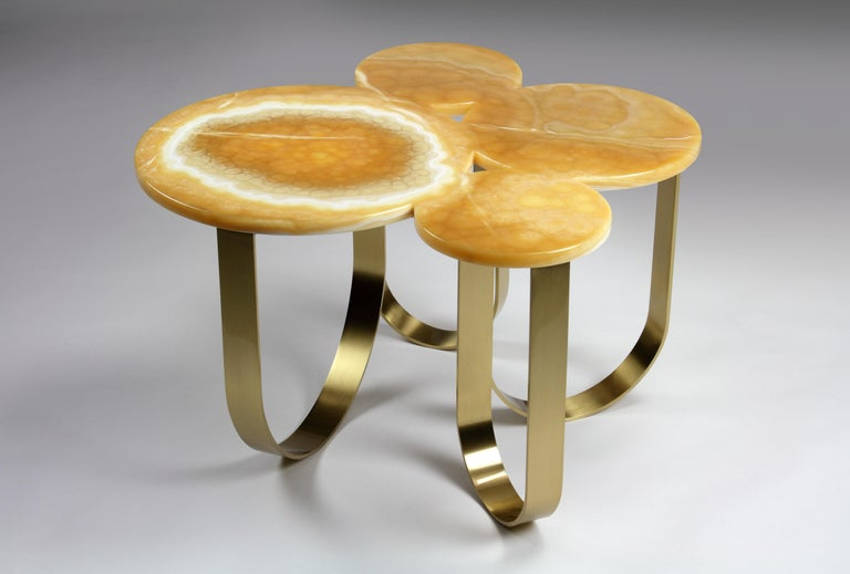 Coffee Table Orange Onyx Brass Circular Composable Contemporary Italian Design For Sale 1