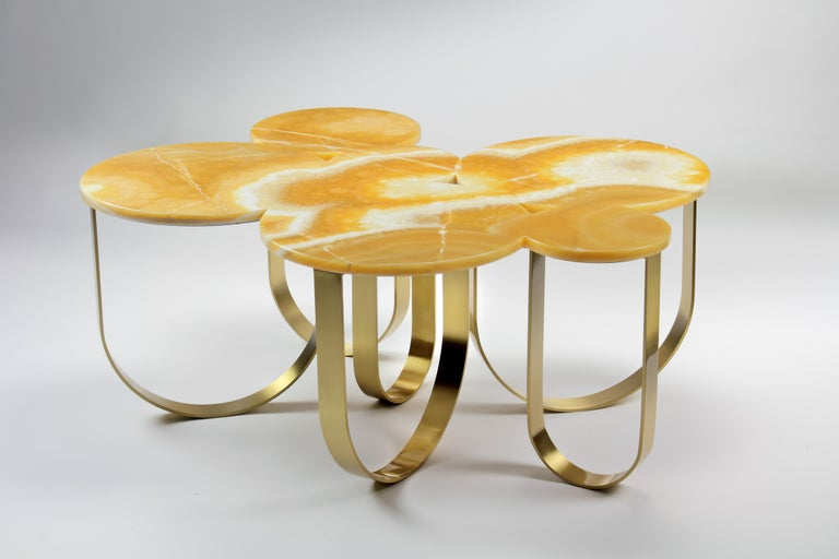 Coffee Table Orange Onyx Brass Circular Composable Contemporary Italian Design For Sale 2