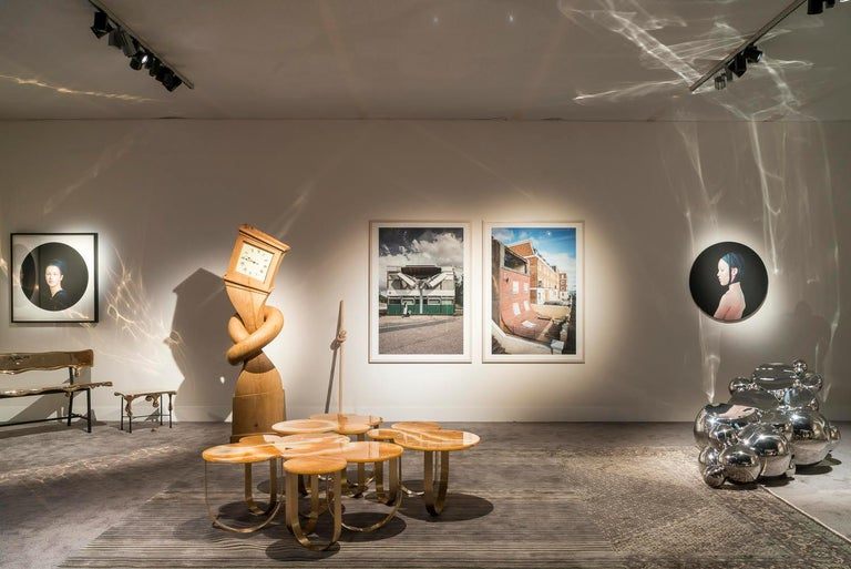 Coffee Table Orange Onyx Brass Circular Composable Contemporary Italian Design For Sale 3