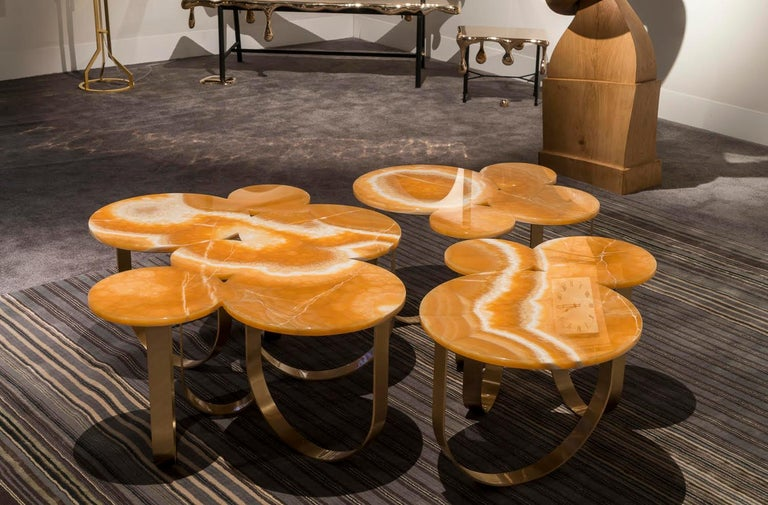 Coffee Table Orange Onyx Brass Circular Composable Contemporary Italian Design For Sale 4