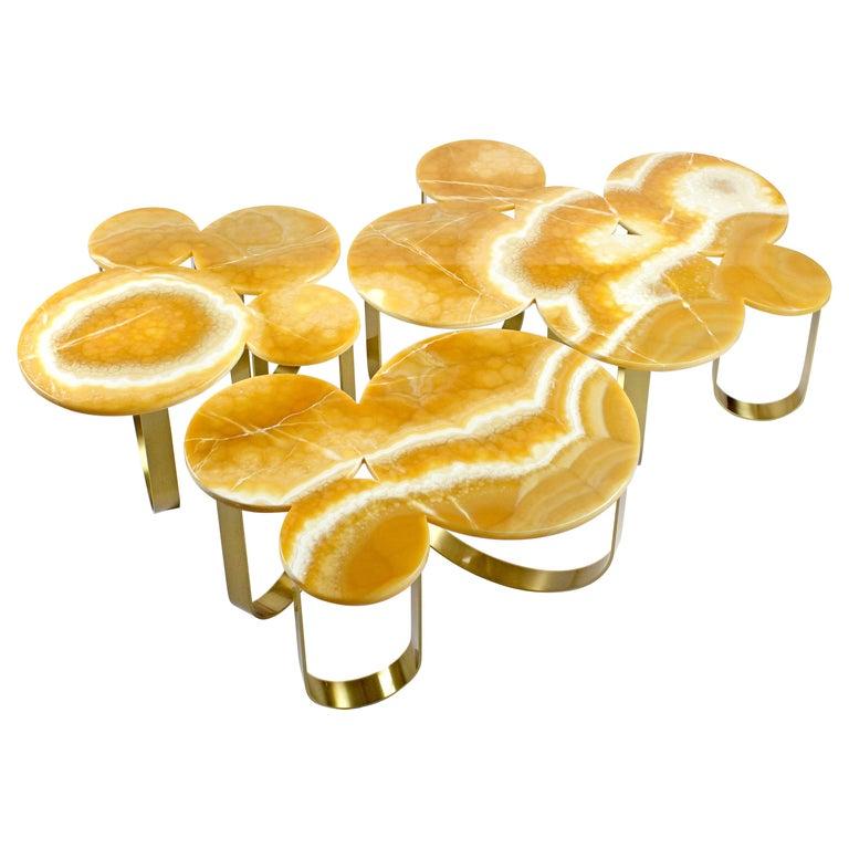 Coffee Table Orange Onyx Brass Circular Composable Contemporary Italian Design For Sale
