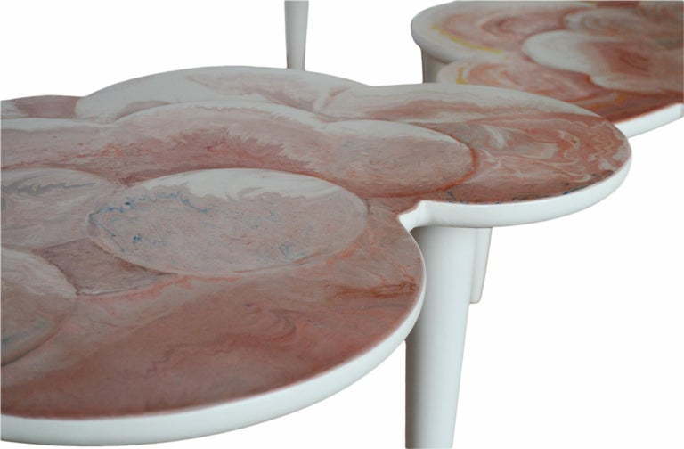 Italian Coffee Table Pink Scagliola Artistic Top Cloud Shape White Wooden Legs Handmade For Sale