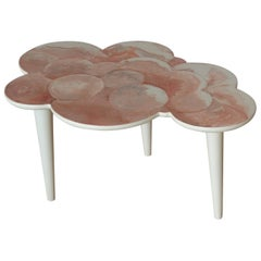Coffee Table Pink Scagliola Artistic Top Cloud Shape White Wooden Legs Handmade