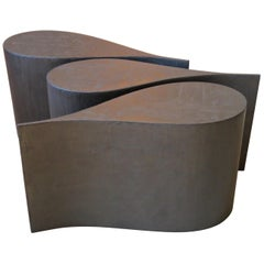 Coffee Table, Plywood Coated Titanium, Extremely Lightweight, Three Pieces, Set