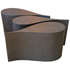 Coffee Table, Plywood Coated Titanium, Three Pieces Set
