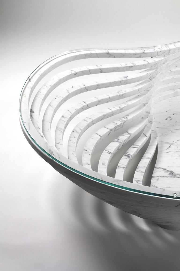 Coffee Table Round Circular White Marble Glass Crystal Contemporary Design For Sale 5