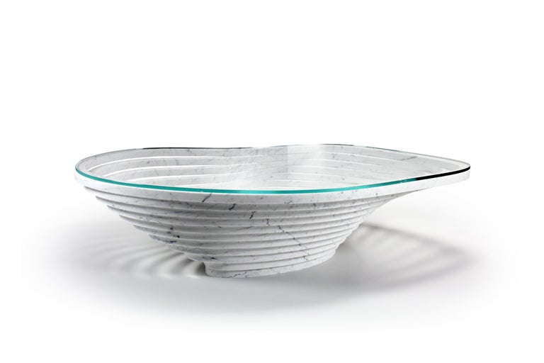 Coffee Table Round Circular White Marble Glass Crystal Contemporary Design For Sale 1