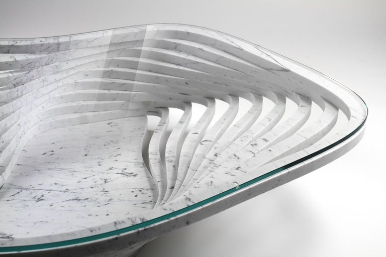 Coffee Table Round Circular White Marble Glass Crystal Contemporary Design For Sale 2