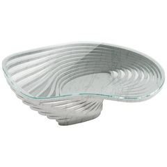 Coffee Table Round Circular White Marble Glass Crystal Contemporary Design
